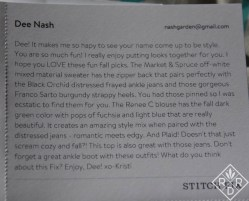 My stylist's note. I love Kristi. She's so much fun and really pays attention to my Pinterest boards.