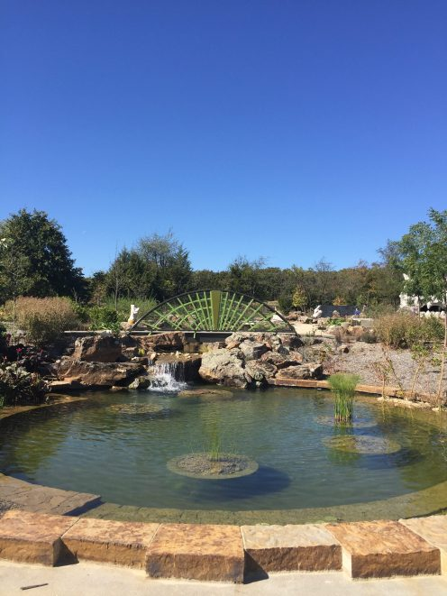 The round pond in the children's garden. Tulsa Botanic Garden