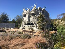 The Spring Giant is the star attraction in the Children's Garden. They can climb inside of him, and his hair will be planted with different plants each year.
