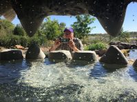 Photo of Region V Director, Kevin Gragg, from inside the Spring Giant in the children's garden.
