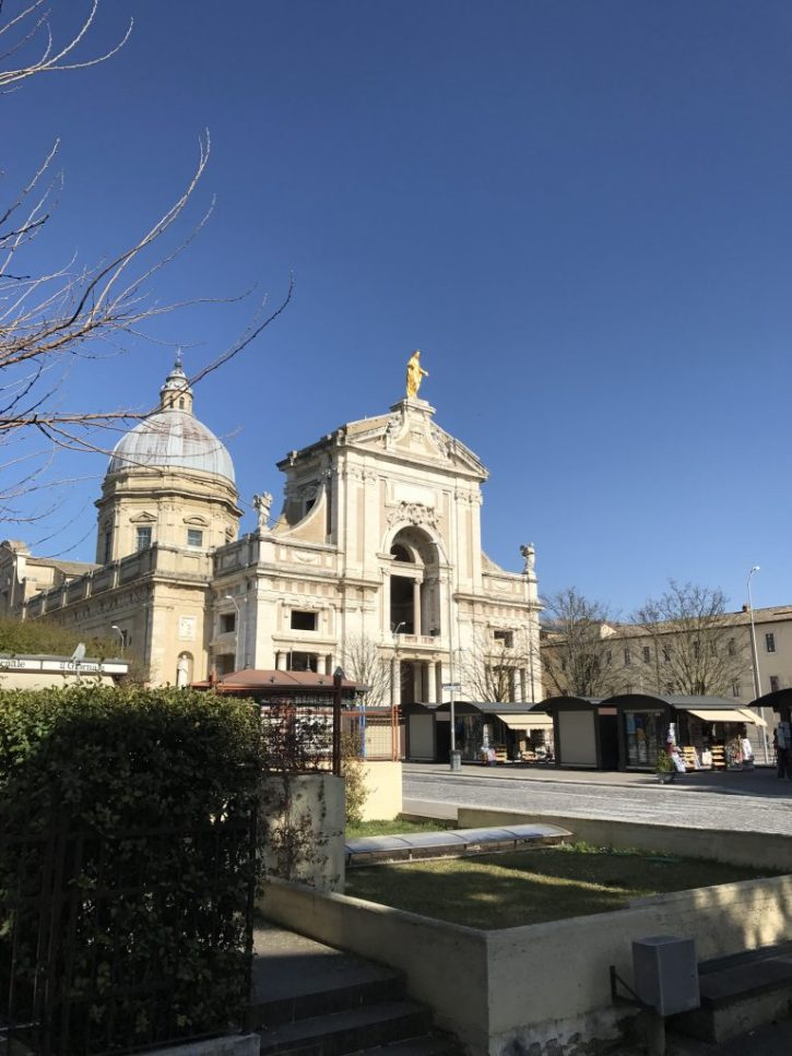 Basilica of St. Mary of the Angels in which the Portiuncula is located.