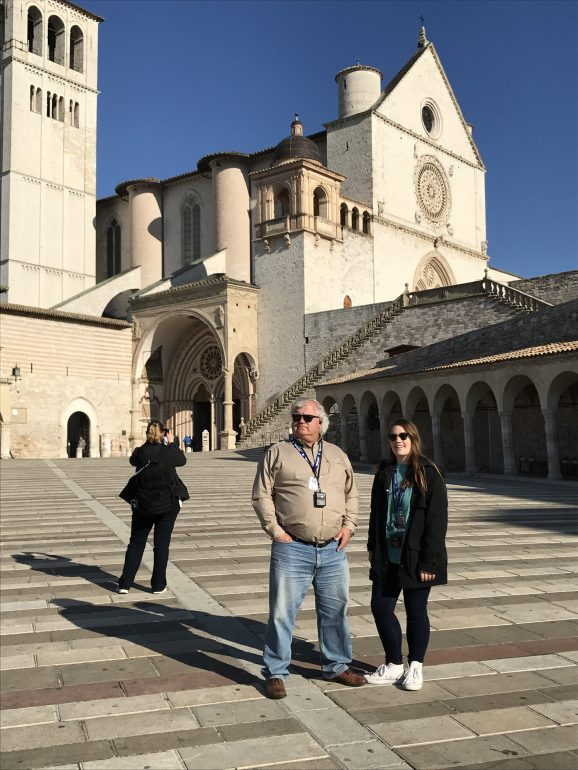 Bill and Claire looking too cool in their shades in front of the Basilica of St. Francis. We were getting ready to walk into mass, but had to wait for them to open.