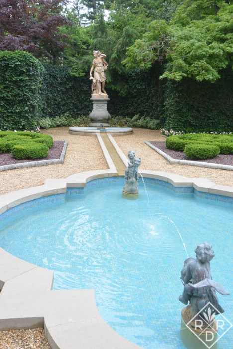 The goddess Diana watching over the French parterre.