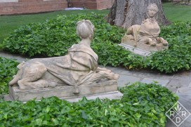 French lady sphinxes outside the French parterre.