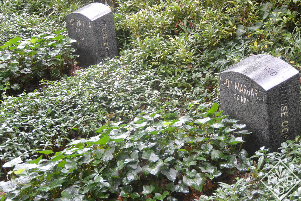 Graves in pet cemetery at Hillwood.