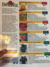 Laminated Instruction sheet from Burpee Seeds and Plants. This came with their test plants this year, and I'm so glad. It made things so much easier and didn't disintegrate in the box from water. Other instructions sheets sometimes do.