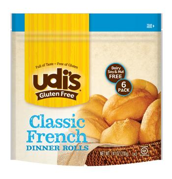 Udi's gluten-free classic French dinner rolls.