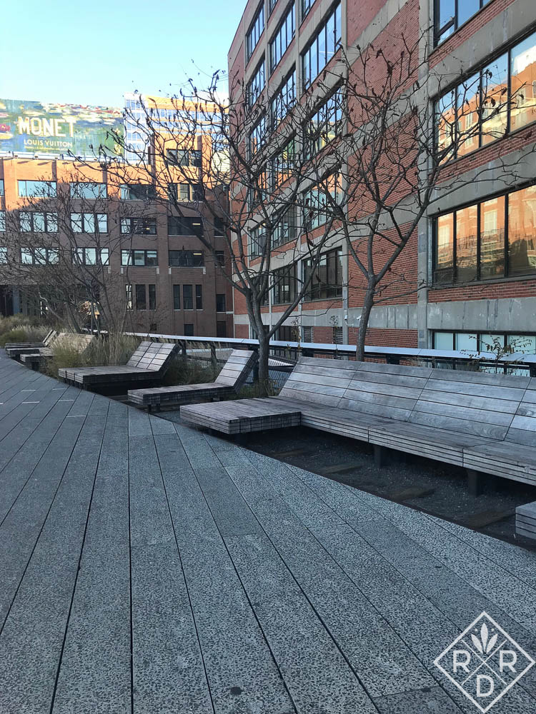 Benches on rollers at the High Line. I believe these benches are made of FSC (Forest Stewardship Council) ipe. In Phase I of construction which opened in 2009, wooden elements were constructed of FSC ipe, which was criticized. Phase II used reclaimed teak. Both types of wood weather to a silvery gray.
