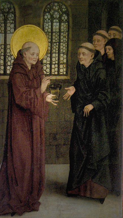 St. Benedict and the cup of poison; oil on wood; end 15th c.; anonymous Austrian master; museum of the Melk Abbey, Austria. Yes, I know he's being handed a cup of poison. Yes, that apparently happened. Not everyone wanted to hear his message.