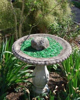 Birdbath with Tumbled Glass