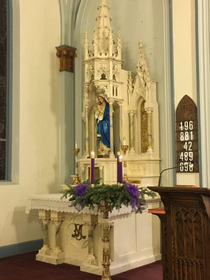 Mary, the Blessed Mother, and the Advent Wreath at St. Mary's Church in Guthrie, OK.