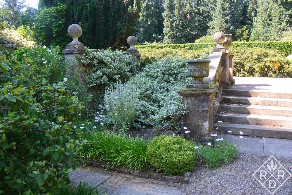 Wide-angled steps in Newby Hall planted with heat-loving plants.
