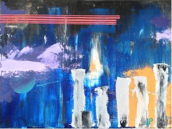 "Musing Terrace – 18"" x 24"" – on canvas – acrylic blend mix"