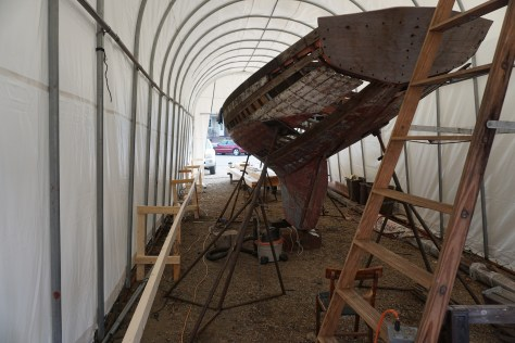 Aft view of the hull before restoration. Showing some old material and some from a previously started restoration.