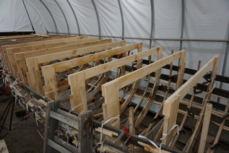 The molds were inserted into the hull with frames and floor timbers attached