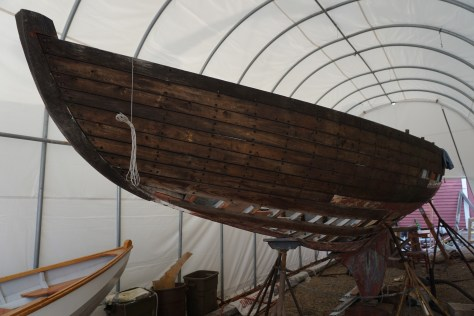 previous restoration work was holding in a lot of deformity in the hull from decades of sitting on poppets and sagging sheer.