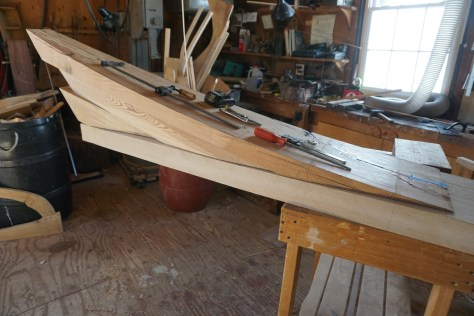 The upper deadwood is dry fit to the oak backer roughed opt to width to be final faired on the boat