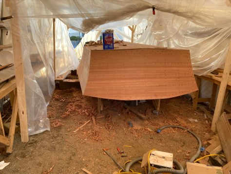The transom planking complete.