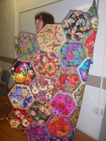 Kim revisiting her Kaffe Fassett fabrics after a great evening in the company of the great man himself!