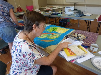 Jan working on her Textile Translations pieces