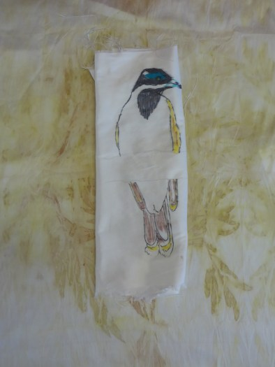 Eco dyed background by Alex, who is working on this blue faced honeyeater