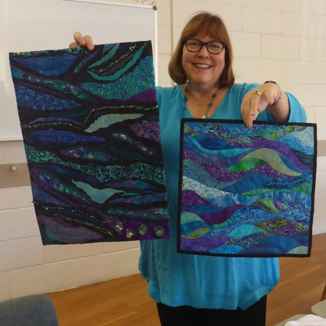 "Kim's undulating pieces...on the left her dynamic directions piece and on the right her one for ""Marine Fantasy"" entry."