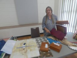 Alex had a number of things to show, amongst them some lovely boxes for keeping treasures therein, and her lovely leafy dyed silk on which she is putting a blue faced homeyeater.