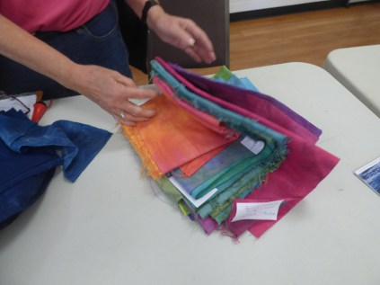 Jill also had some procion dyed fabrics she is experimenting with