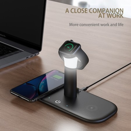 4-i-1 Trådløs Oplader / LED Lampe - Smartphone, Apple Watch, AirPods