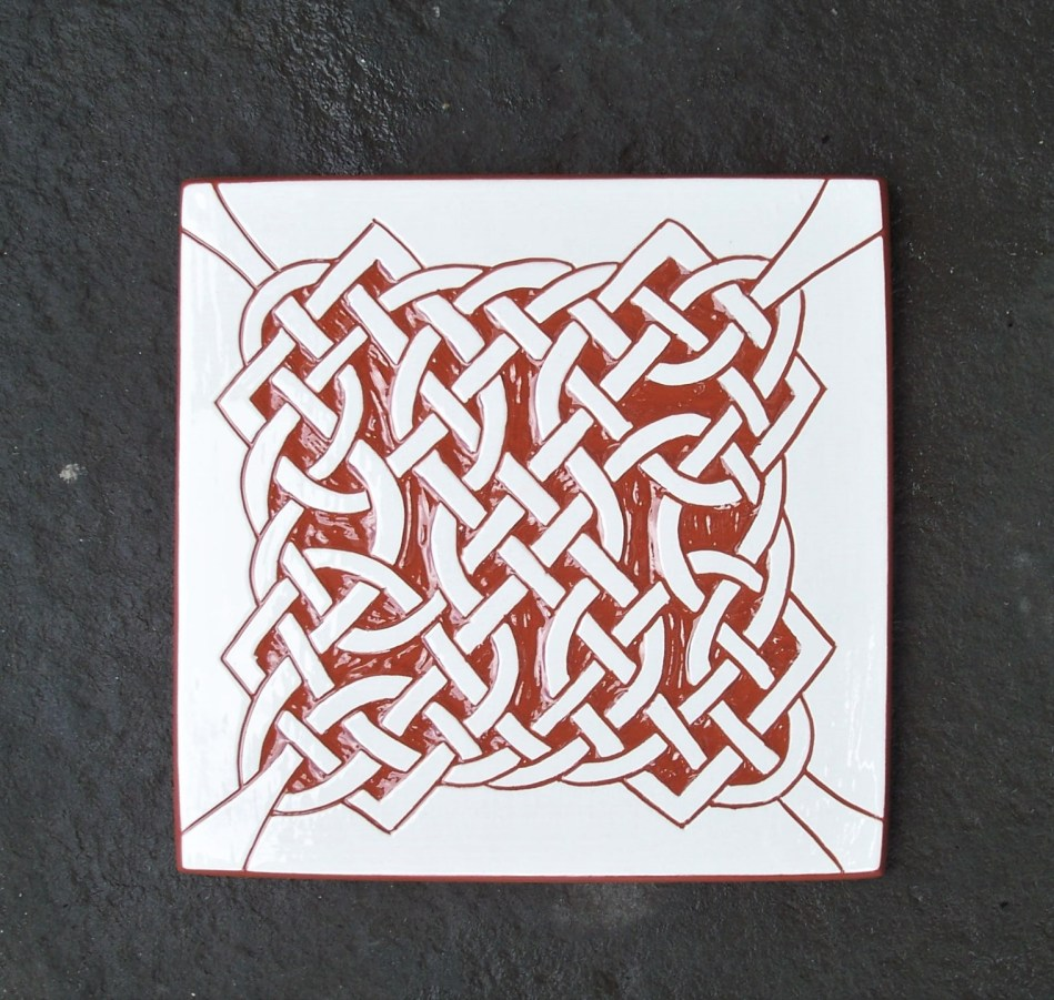 6 in. Four Corners Celtic Knot Tile Trivet- $20.