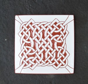 6 in. Four Corners Celtic Knot Tile Trivet- $20.