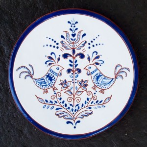 6 in. Round Blue Chicken Tile - $25.