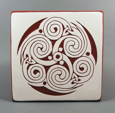 6 in. square Spiral tile trivet - $20.