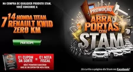Promoção Abra Portas Com STAM Sorteios - Rede da Promoção