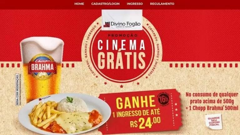 Divino Fogão Cinema Grátis 2019 Como Resgatar Ingresso - Rede da Promoção