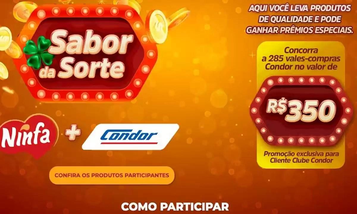 Promoção Condor e Ninfa Sabor da Sorte 2021