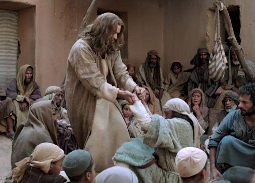 man through roof to Jesus Luke 5
