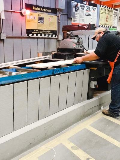 Home Depot Cutting Wood