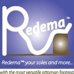Redema logo with tag line: Redema your soles and more with the most versatile ottoman footrest.