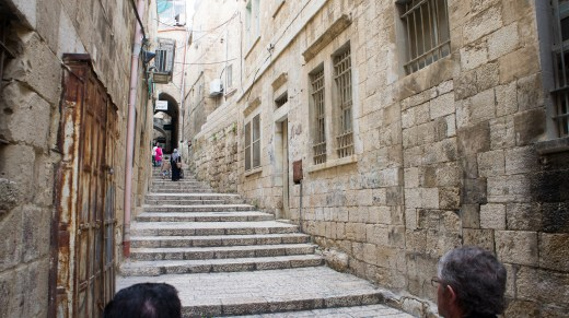 Via Dolorosa, the path Jesus took carrying his cross
