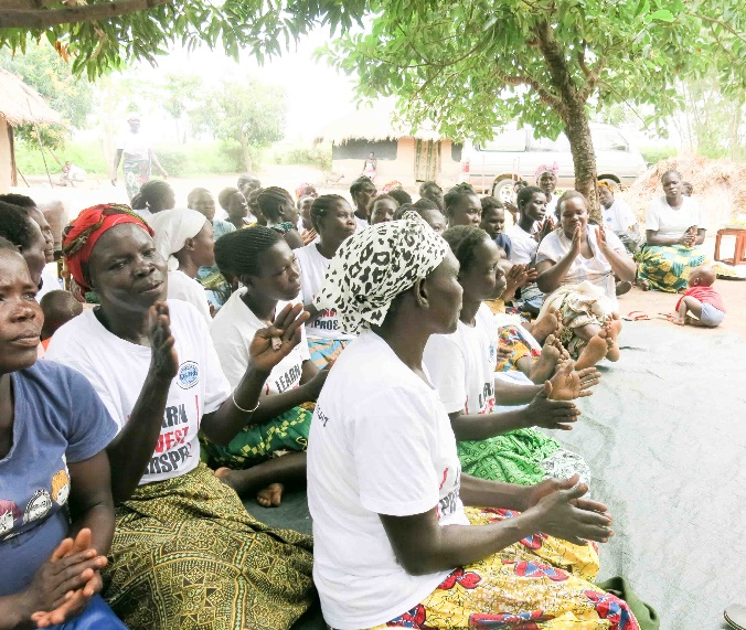 Women gathered to receive their loans