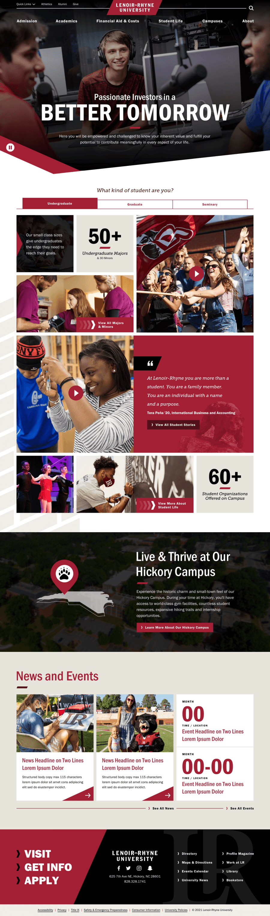 Screenshot of new homepage design showing video and images of students