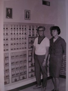 Ted Dunning and Georgie Hurd in the newly opened post office, 1969
