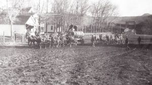 Horseback riding past Livermore Hotel