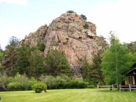 Turkey Rock: The North Poudre flows in front of this very prominent rock.