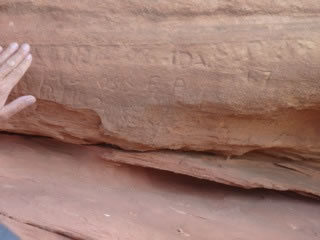 Close-up view of Signature Rock at the Roberts Ranch.