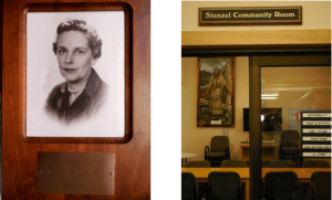 The plaque reads: In Memory of Mary G. Stenzel, 1912-1985.  The later addition, completed in 2005, included a community room which was also named in the family's honor.