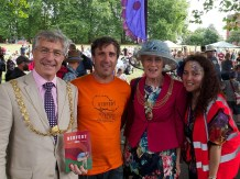 Two members of the festival team with the Lord Mayor and Lady Mayoress of Bristol. All four are smiling at the camera
