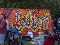 A 10-foot high graffiti board with a colourful version of the Redfest logo