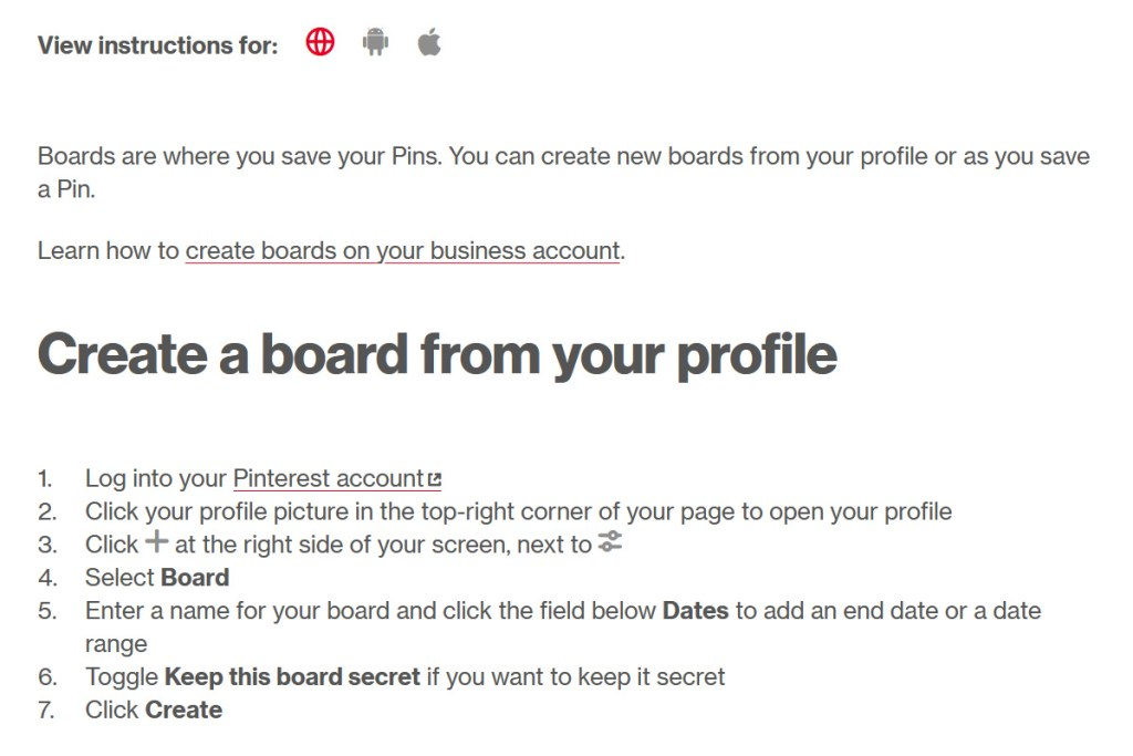 Create A Board From Your Profile